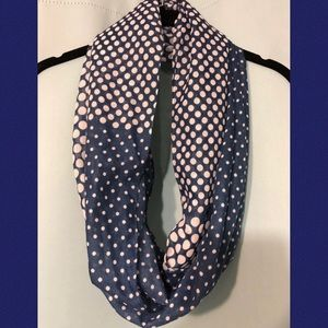 Blue and white polka dot Infiniti scarf